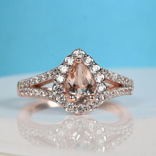 Marropino Morganite and Natural Cambodian Zircon Ring in Rose Gold Overlay Sterling Silver 1.25 Ct.