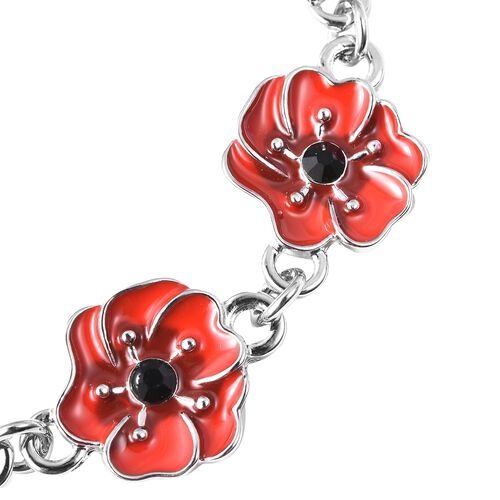 TJC Poppy Design Red and Black Enamelled Poppy Flower Silver Tone Bracelet (Size 7 with 1.5 Inch Extender)