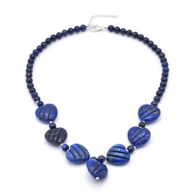 Lapis Lazuli Necklace (Size 18 with 2 inch Extender) in Sterling Silver 608.00 Ct.