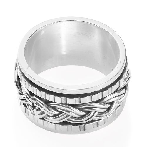 Sterling Silver Woven Spin Ring, Silver wt 7.00 Gms