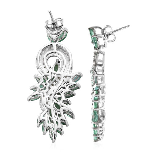 Kagem Zambian Emerald (Mrq), Natural Cambodian Zircon Dangle Earrings (with Push Back) in Platinum Overlay Sterling Silver 7.000 Ct,