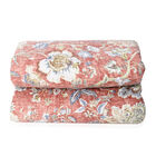 Single Size Chintz Print Sherpa Quilt 180x240 cm in Red and Multi Colour