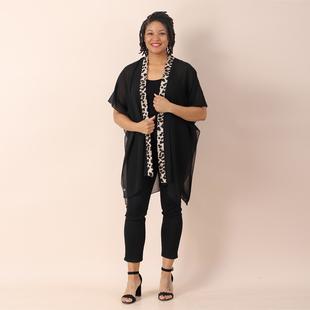 JOVIE Chiffon Kimono with Leopard Printed Border (Size 80X85 cm) - Black