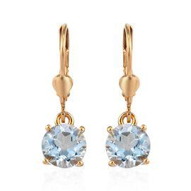 AA Sky Blue Topaz (Rnd) Lever Back Earrings in 14K Gold Overlay Sterling Silver 3.00 Ct.
