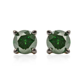 9K Yellow Gold Green Diamond (Rnd) Stud Earrings (with Push Back) 0.40 Ct.