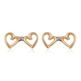 Diamond Double Heart Stud Earrings in Gold Plated Sterling Silver