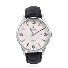 GENOA Japanese Movement Water Resistant Watch with Genuine Leather Black Strap