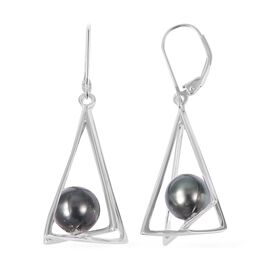 Tahitian Pearl (8-9 mm) Lever Back Earrings in Rhodium Plated Sterling Silver