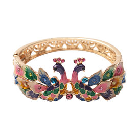 Multi Colour Crystal Enamelled Peacock Couple Bangle (Size 7) in Gold Tone