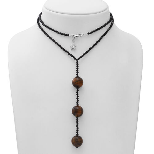 GP - Tigers Eye (Rnd), Natural Boi Ploi Black Spinel and Blue Sapphire Beads Necklace (Size 26) with Star Charm in Sterling Silver 150.03  Ct.