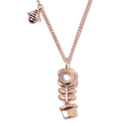 Rainbow Moonstone (Rnd) Plant Pendant With Chain (Size 20) in Rose Gold Overlay Sterling Silver 1.00