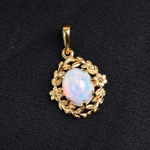 Ethiopian Welo Opal Pendant in 14K Yellow Overlay Sterling Silver 1.15 Ct.
