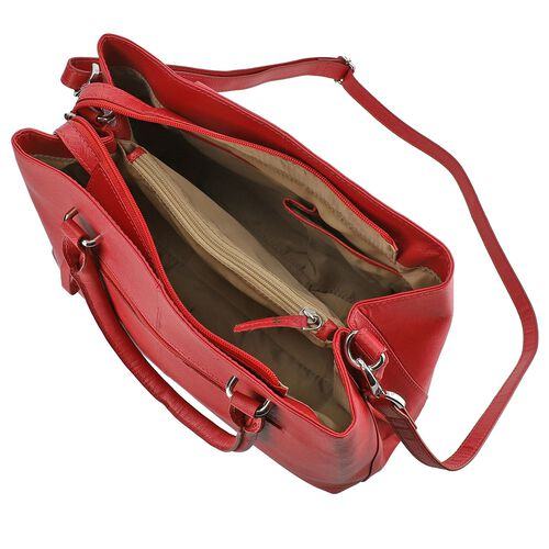 100% Genuine Leather Shoulder Bag with Detachable Strap (Size 34.5x10.5x25 Cm) - Red