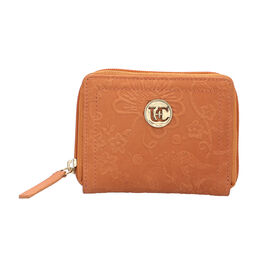 100% Genuine Leather RFID Floral Vine Embossed Orange Wallet with Zipper Closure