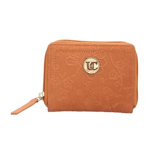100% Genuine Leather RFID Floral Vine Embossed Orange Wallet with Zipper Closure