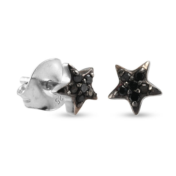 Black Diamond (Rnd) Star Stud Earrings (with Push Back) in Platinum and Black Overlay Sterling Silver