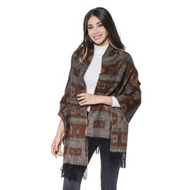 LA MAREY Super Soft 100% Lambswool Jacquard Brown Leaf and Fret Pattern Shawl with Tassels (175x70cm