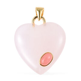 25 Carat Rose Quartz and Pink Jade Heart Pendant in Gold Plated Sterling Silver