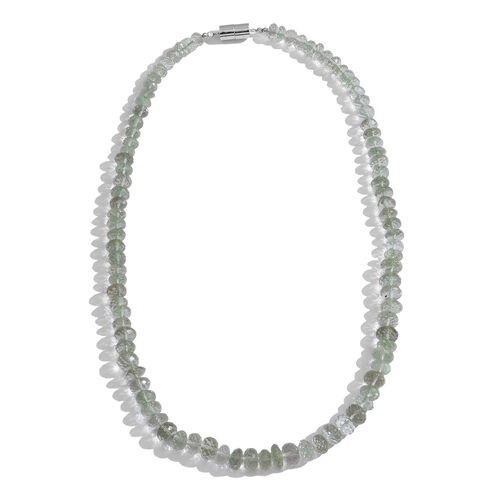 Green Amethyst (Rnd) Beads Necklace (Size 18) with Magnetic Clasp Lock in Rhodium Plated Sterling Silver 200.000 Ct.