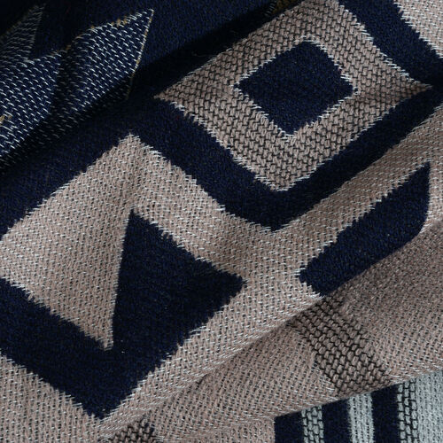 Beige, Blue and Multi Colour Ikkat Pattern Scarf with Fringes (Size 190X70 Cm)