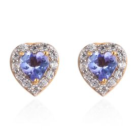 Tanzanite and Natural Cambodian Zircon Halo Heart Stud Earrings (with Push Back) in 14K Yellow Gold