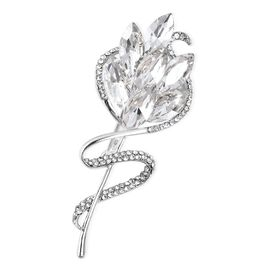 Simulated Diamond (Mrq), White Austrain Crystal Rose Brooch Silver Plated