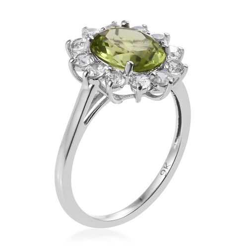 Chinese Peridot (1.90 Ct),Cambodian Zircon 9K W Gold Ring  2.750  Ct.
