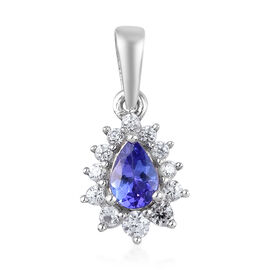 AAA Tanzanite and Natural Cambodian Zircon Halo Pendant in Platinum Overlay Sterling Silver