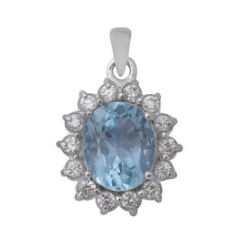 8.13 Ct Sky Blue Topaz and Zircon Halo Pendant in Rhodium Plated Silver