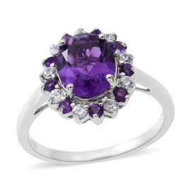 Lusaka Amethyst (Ovl 2.42 Ct), Natural White Cambodian Zircon Ring in Rhodium Plated Sterling Silver 3.200 Ct.