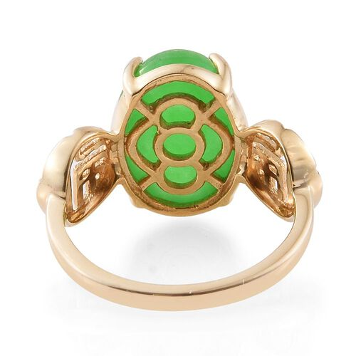 9K Yellow Gold Green Jade (Ovl) Solitaire Ring 7.000 Ct.