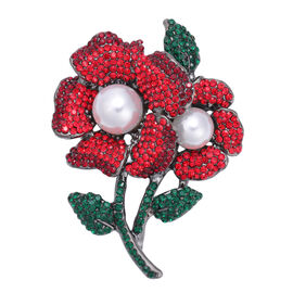 Set of 2 - Red Austrian Crystal Enamelled Brooch