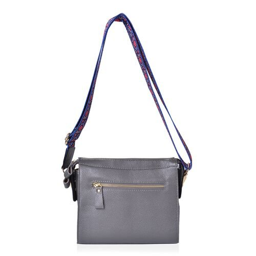 100% Genuine Leather Dark Grey Colour Crossbody Bag with Tassel Charm and Colourful Adjustable and Removable Shoulder Strap (Size 21.5X18.5X8.5 Cm)