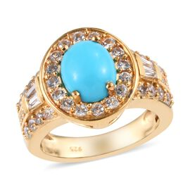 Arizona Sleeping Beauty Turquoise (Ovl 1.60 Ct), Natural Cambodian Zircon Ring in 14K Gold Overlay S