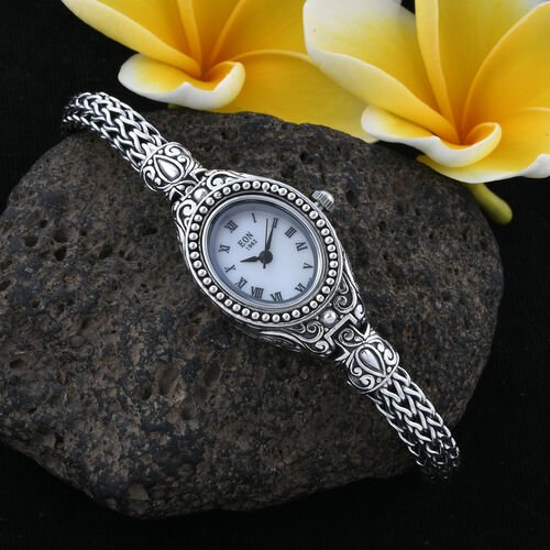 Royal Bali Collection EON 1962 Sterling Silver Handmade Tulang Naga Bracelet Watch (Size 7.25) with Stainless Steel Dial, Metal wt 50.70 Gms.