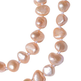 2 Piece Set - Peach Freshwater Pearl Bracelet (Size 7) and Necklace (Size 20) in Rhodium Overlay Ste