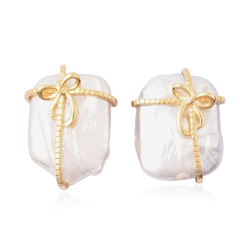 White Baroque Pearl Gift Design Stud Earrings in Yellow Gold Overlay Sterling Silver