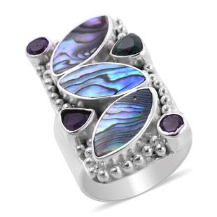 Sajen Silver BALI GODDESS COLLECTION - Abalone Shell, Green Quartz and Amethyst Ring in Sterling Sil