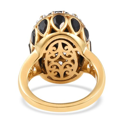 Natural Boi Ploi Black Spinel (Oval and Pear), Natural Cambodian Zircon Ring in 14K Gold Overlay Sterling Silver 11.75 Ct, Silver wt 6.00 Gms