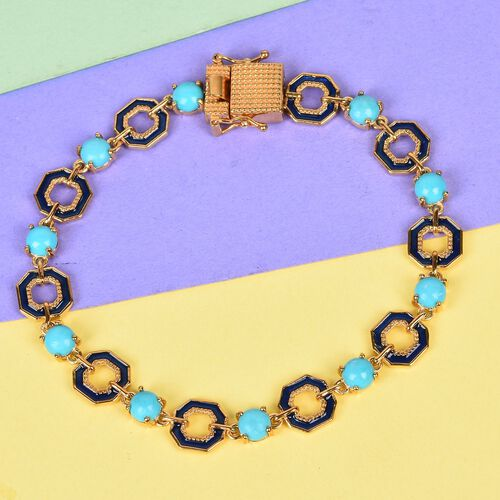 GP - AA Arizona Sleeping Beauty Turquoise and Blue Sapphire Enamelled Bracelet (Size 7.5) in 14K Gold Overlay Sterling Silver 4.75 Ct, Silver wt 12.75 Gms