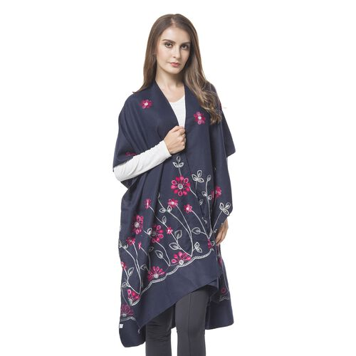 Designer Inspired Embroidered Floral Kimono (Navy) (One Size)