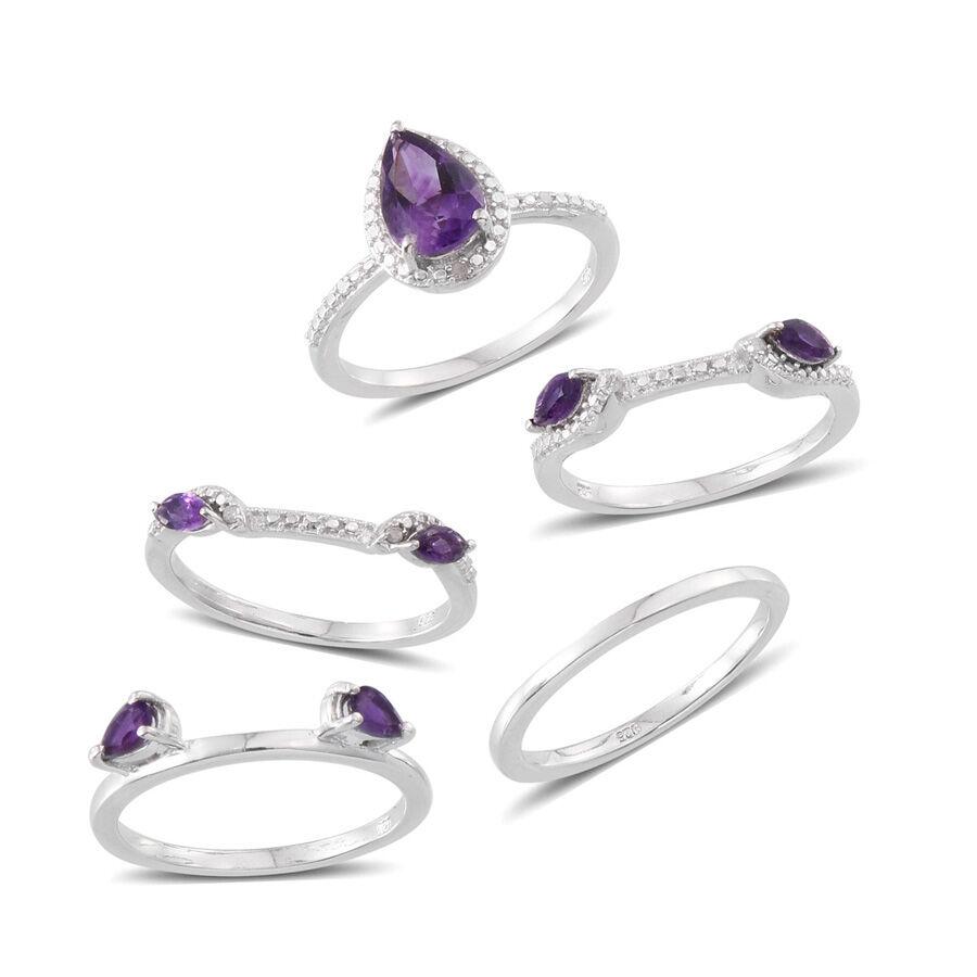 Lusaka Amethyst (Pear 1.75 Ct), Diamond 5 Ring Set in
