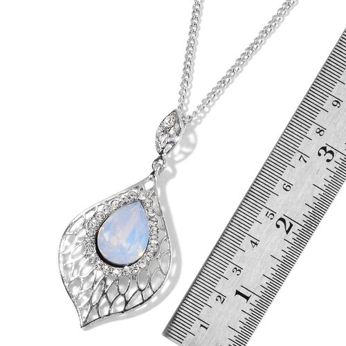Simulated White Moonstone and White Austrian Crystal Necklace (Size 20 with 3 inch Extender) and Earrings (with Push Back) in Silver Plating