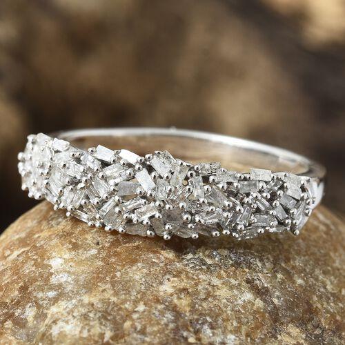 Diamond Platinum Overlay Sterling Silver Ring  0.530  Ct.