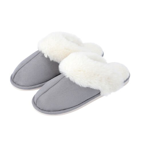 Super Soft Suedette Home Slippers with Faux Fur (Size M: 5-6) - Grey
