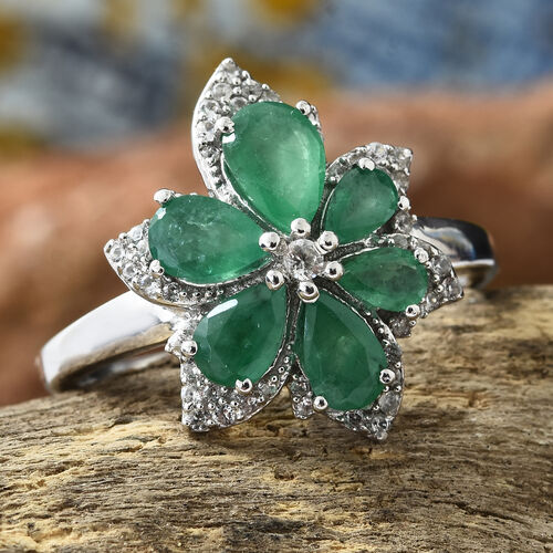 AA Kagem Zambian Emerald (Pear), Natural Cambodian Zircon Flower Ring in Platinum Overlay Sterling Silver 2.500 Ct.