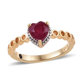 GP African Ruby (Hrt 6 mm), Kanchanaburi Blue Sapphire Heart Ring in 14K Gold Overlay Sterling Silve