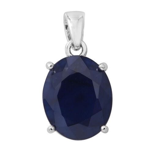 9K White Gold  Kanchanaburi Blue Sapphire (Ovl) Solitaire Pendant 4.250 Ct.