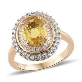 Collectors Edition - ILIANA 18K Yellow Gold  Loupe Clean AAA Yellow Sapphire (Rare Size Ovl 9x7mm, 2.25 Ct) and Diamond (SI/G-H) Ring 2.750 Ct. Gold wt 5.20 Gms.