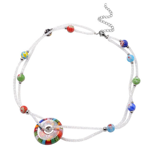 Multi Colour Murano Glass and Simulated Diamond Beads Necklace (Size 20 with 4 inch Extender) in Sta